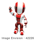 #42226 Clip Art Graphic of a Red Futuristic Robot Waving by Jester Arts