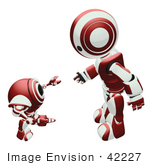 #42227 Clip Art Graphic Of A Red Futuristic Robot Bending Down And Chatting With A Cam