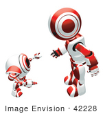 #42228 Clip Art Graphic Of A Red Futuristic Robot And Cam Talking