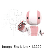 #42229 Clip Art Graphic Of A Red Futuristic Robot Pushing Buttons On A Circuit