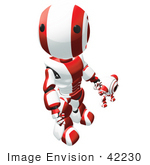 #42230 Clip Art Graphic of a Red Futuristic Robot And Cam Holding Hands And Looking Up by Jester Arts