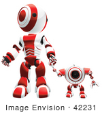 #42231 Clip Art Graphic of a Red Futuristic Robot Standing With A Cam And Holding Hands by Jester Arts