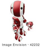 #42232 Clip Art Graphic Of A Red Futuristic Robot Looking Up While Holding Hands With A Cam