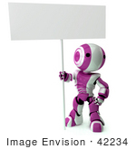 #42234 Clip Art Graphic Of A Purple Futuristic Robot Holding A Blank Sign