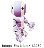 #42235 Clip Art Graphic of a Purple Futuristic Robot Looking Up And Holding Hands With A Cam by Jester Arts