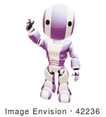 #42236 Clip Art Graphic of a Purple Futuristic Robot Standing And Waving Hello by Jester Arts