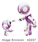 #42237 Clip Art Graphic Of A Purple Futuristic Robot Discussing With A Cam