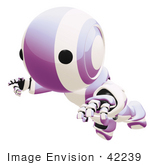#42239 Clip Art Graphic Of A Purple Futuristic Robot Falling