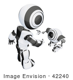 #42240 Clip Art Graphic Of A Black Futuristic Robot Bending Down To Greet A Cam
