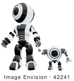 #42241 Clip Art Graphic of a Black Futuristic Robot Holding Hands With A Cam by Jester Arts