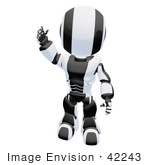 #42243 Clip Art Graphic of a Black Futuristic Robot Standing And Waving by Jester Arts