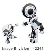 #42244 Clip Art Graphic Of A Black Futuristic Robot Chatting With A Cam