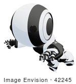 #42245 Clip Art Graphic Of A Black Futuristic Robot Floating