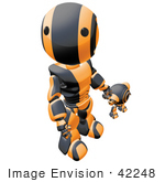 #42248 Clip Art Graphic of an Orange Futuristic Robot Looking Up And Holding Hands With A Cam by Jester Arts