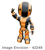 #42249 Clip Art Graphic of an Orange Futuristic Robot Waving by Jester Arts