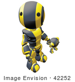 #42252 Clip Art Graphic Of A Yellow Futuristic Robot Holding Hands With A Cam And Looking Up