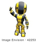 #42253 Clip Art Graphic Of A Yellow Futuristic Robot Waving
