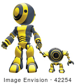#42254 Clip Art Graphic of a Yellow Futuristic Robot Standing And Holding Hands With A Cam by Jester Arts