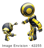 #42255 Clip Art Graphic Of A Yellow Futuristic Robot Bending Over And Talking To A Cam