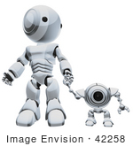 #42258 Clip Art Graphic Of A Chrome Futuristic Robot Holding Hands With A Cam