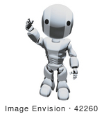 #42260 Clip Art Graphic Of A Chrome Futuristic Robot Waving