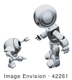 #42261 Clip Art Graphic Of A Chrome Futuristic Robot Talking To A Cam