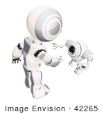 #42265 Clip Art Graphic Of A Silver Futuristic Robot Greeting A Cam