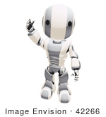 #42266 Clip Art Graphic Of A Silver Futuristic Robot Waving