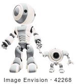 #42268 Clip Art Graphic of a Silver Futuristic Robot Standing And Holding Hands With A Cam by Jester Arts