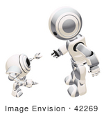 #42269 Clip Art Graphic Of A Silver Futuristic Robot Chatting With A Cam