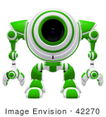 #42270 Clip Art Graphic Of A Green Futuristic Cam Facing Front