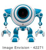 #42271 Clip Art Graphic Of A Blue Futuristic Cam Facing Front