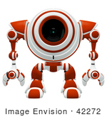 #42272 Clip Art Graphic Of A Red Futuristic Cam Facing Front