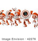 #42276 Clip Art Graphic Of A Friendly Red Cam Waving In Line