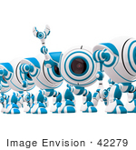 #42279 Clip Art Graphic Of A Waving Blue Cam In A Line