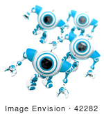 #42282 Clip Art Graphic of Alert Blue Cams Marching Forward by Jester Arts