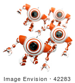 #42283 Clip Art Graphic Of Alert Orange Cams Marching Forward