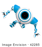 #42285 Clip Art Graphic Of A Focused Blue Cam Marching Forward