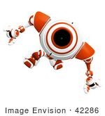 #42286 Clip Art Graphic Of A Focused Orange Cam Marching Forward