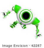 #42287 Clip Art Graphic Of A Focused Green Cam Marching Forward