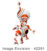 #42291 Clip Art Graphic Of An Orange Cam Climbing Up On The Back Of Another