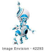 #42293 Clip Art Graphic of a Blue Cam Climbing Up On The Back Of Another by Jester Arts
