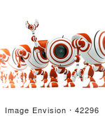 #42296 Clip Art Graphic Of A Red Cam Standing And Line And Waving To Someone