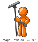 #42297 Clip Art Graphic Of A Window Cleaner Orange Guy