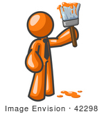 #42298 Clip Art Graphic Of A Painting Orange Guy