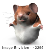 #42299 Clip Art Graphic of a Chubby 3d Hamster by Jester Arts