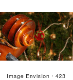 #423 Photo Of A Decorated Christmas Tree And Viola Scroll