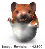 #42300 Clip Art Graphic Of A Friendly 3d Hamster
