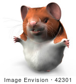 #42301 Clip Art Graphic Of A Happy 3d Hamster