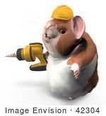 #42304 Clip Art Graphic of a 3d Hamster Using A Power Drill by Jester Arts